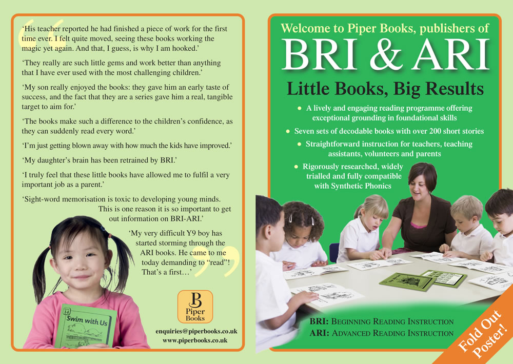 Teaching children to read with Piper Books leaflet